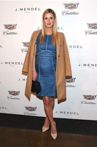 dress lace dress midi dress blue blue dress coat pumps ny fashion week 2016 fashion week 2016