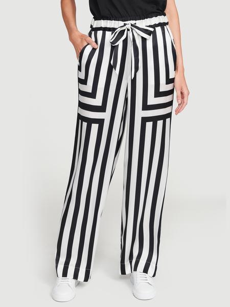 Silk Mix Stripe PJ Pant Off White Multi