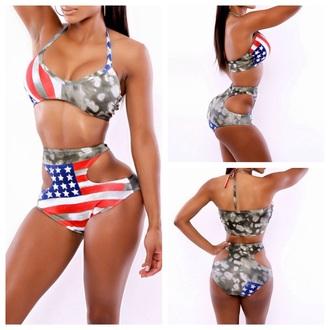 swimwear american flag amercan print bikini summer beach beachwear style unusuall hot sexy