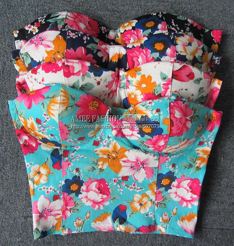 Aliexpress.com : buy new hot retro rural style floral print spandex women's bustier bra crop top tank from reliable tank dress suppliers on amee fashion trading co., ltd.