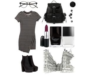 striped dress vagabonds backpack mac lipstick butter london nail polish