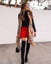 scarf,plaid,black boots,over the knee boots,black bag,red skirt,mini skirt,black turtleneck top