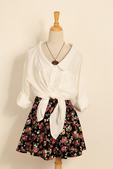 roses floral print skirts skater skirt