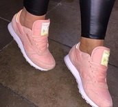 shoes,Reebok,pink,reebok classic,sneakers