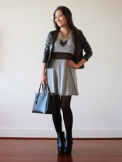 sensible stylista,blogger,jewels,tights,dress,see through,tassel,leather bag,grey,leather jacket