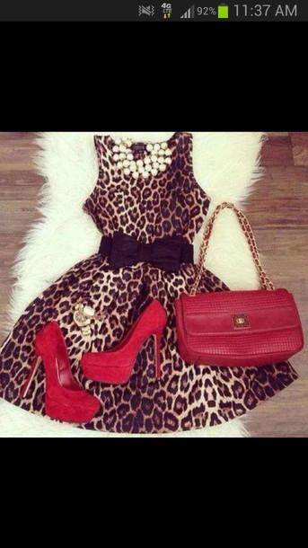 dress leopard print cute cute dress animal print chic jewels shoes red leopard print print hot