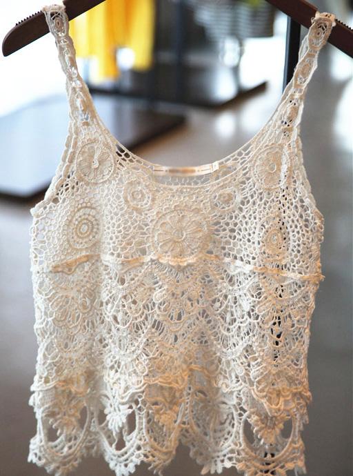 White knit hollow crochet tank top