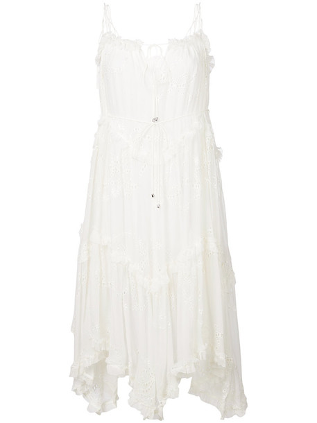dress ruffle dress ruffle women white silk