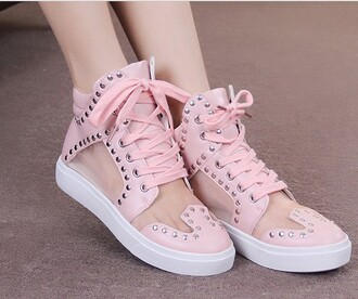 shoes summer breathable hightops fashion pink pretty cute