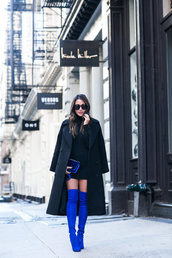 wendy's,lookbook,blogger,coat,shoes,bag,sunglasses,sweater,jeans,thigh high boots,blue shoes,blue bag,black coat,mini dress