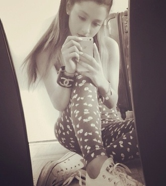 pants floral print leggings floral floral leggings leggings ariana grande flowers