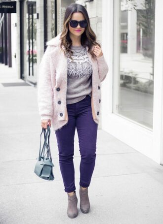 thestyledfox blogger sweater coat jeans bag shoes sunglasses jewels ankle boots winter outfits grey sweater