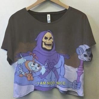 skeletor skeleton t-shirt fall outfits crop tops spring halloween