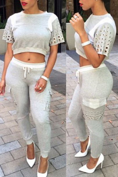 96a826279894 pants crop tops cute sporty fashion style outfit summer sportswear grey  jumpsuit