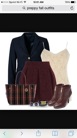 skirt burgundy skirt preppy red skirt wool jacket jewels blouse