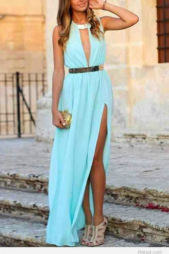 dress deep v neck dress maxi light blue
