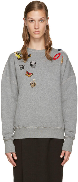 pullover embroidered grey sweater