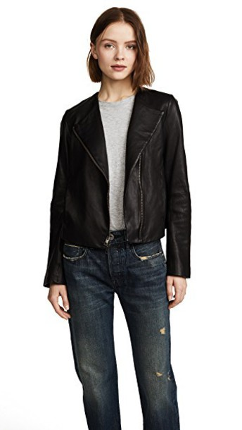 Vince jacket leather jacket cross leather black