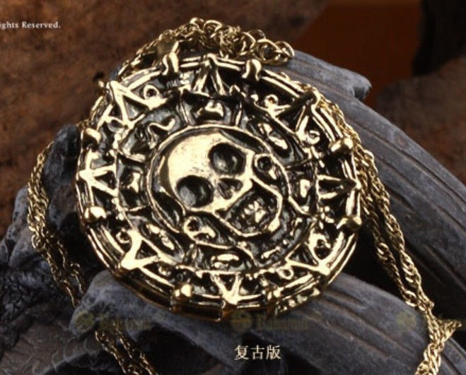 Pirates of the caribbean movies cursed aztec gold coin medallion necklace gift