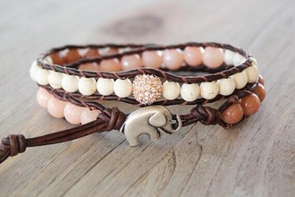 jewels elephant bracelet elephant bracelets shiny boho tropical nature beads leather strap