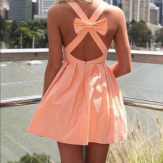 dress peach ribbon peach dress pink lovely beautiful cute summer girl bow colorful sun fashion cute dress nail polish