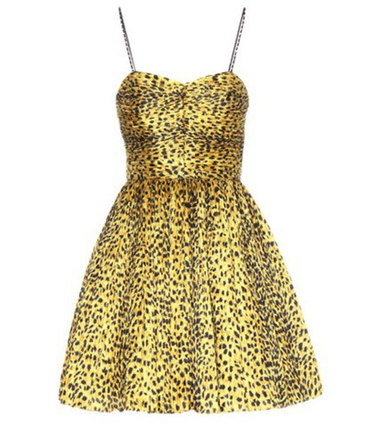Saint Laurent dress printed dress yellow