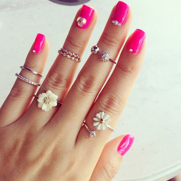jewels ring nails girly