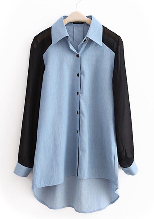 Light-blue Lapel Patchwork Chiffon Denim Shirt - Sheinside.com