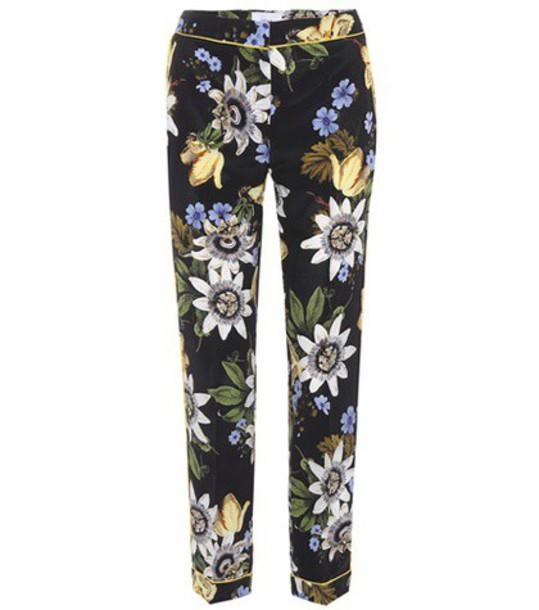 Erdem floral silk black pants
