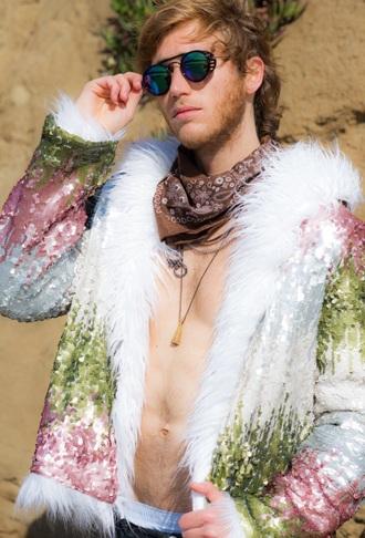 coat sparkle bohemian faux fur sequins festival jacket shiny jacket party costume dream coat