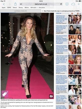 pants jumpsuit embellished plunge neckline nude sequins