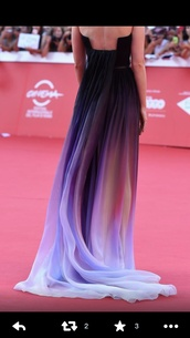 lilly collins,purple dress,ombre dress,ombre,prom dress,homecoming dress,formal dress,floor length dress,long prom dress,long dress,sleeveless dress