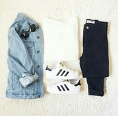 sweater,denim,denim jacket,casual,white,white top,white t-shirt,black jeans,black,addias sneaker,black and white,white sweater,adidas,adidas superstars,sunglasses,rayban,jacket,blue,top,blue jeans,jeans,style,fashion