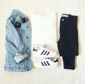 sweater denim denim jacket casual white white top white t-shirt black jeans black addias sneaker black and white white sweater adidas adidas superstars sunglasses rayban jacket blue top blue jeans jeans style fashion