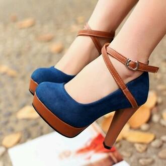 shoes blue velvet close toe tan leather strap round toe high heels strappy heels tan leather