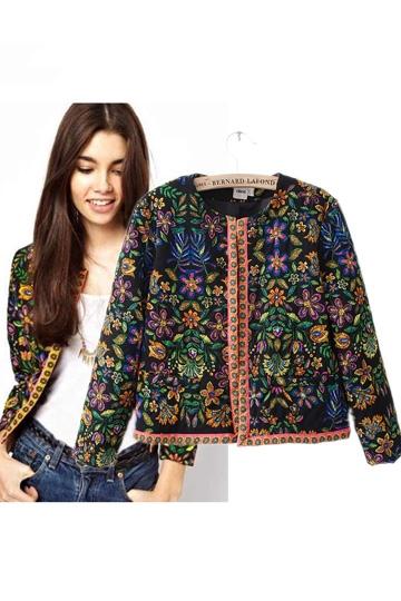 Floral print guilted jacket [febk0161]