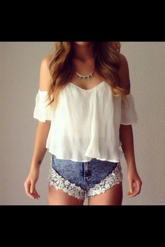 blouse white top off the shoulder boho cute shorts