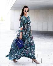 dress,tumblr,off the shoulder,off the shoulder dress,floral,floral dress,maxi dress,floral maxi dress,bag,blue bag,sunglasses,heels,shoes