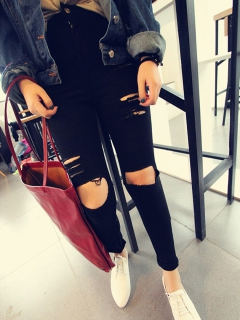 Skinny Jeans with Ripped Leg - Choies.com