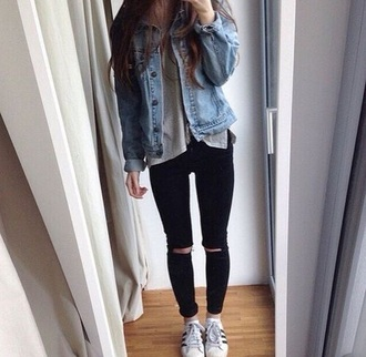 jacket denim jacket black jeans shoes jeans