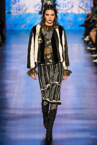 skirt jacket kendall jenner nyfw 2017 runway model fashion week 2017 top midi skirt anna sui