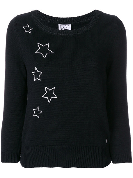 Twin-Set sweater embroidered women cotton black
