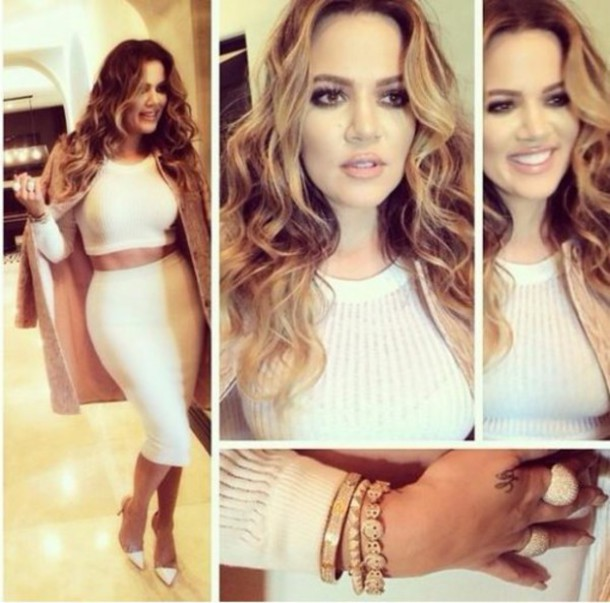 kardashians pencil skirt cropped sweater khloe kardashian white skirt two-piece