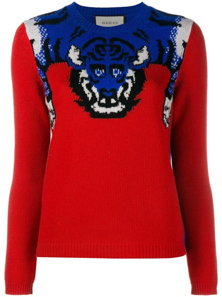 jumper knit women tiger silk wool red sweater