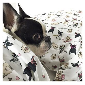 home accessory yeah bunny bedding cover pillow cotton cute print dog pugs frenchie dog lover