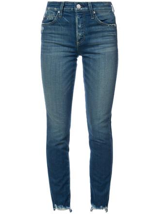 jeans cropped high women spandex cotton blue