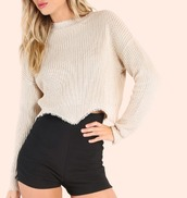 sweater,crop,crop tops,cropped,cropped sweater,knit,cream