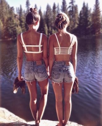 shorts high waisted shorts jeans top bra top
