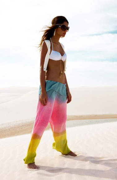 lounge pants yellow pink bright pants multicolor pants yoga pants summer pants blue rainbow boho casual pants beach beach clothes