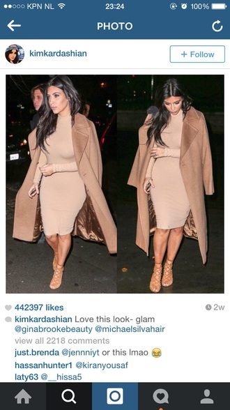 nude dress kim kardashian fashion